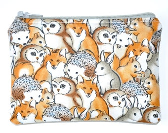 Woodland Creatures Coin Purse Zipper Pouch Hedgehog Fox Owl Zippered Pouch Stocking Stuffer Wallet