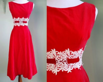 1950s Baby Its Cold Outside Dress - Red Velvet Party Dress - XS