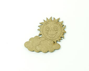 Sun and clouds in medium, size 5cm