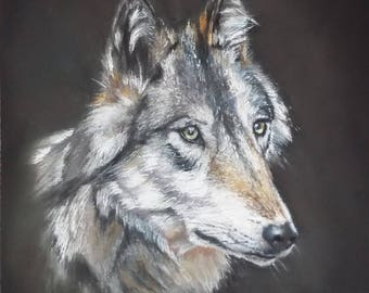 """painting of a wolf in pastels """"at the turn of the wood"""""""