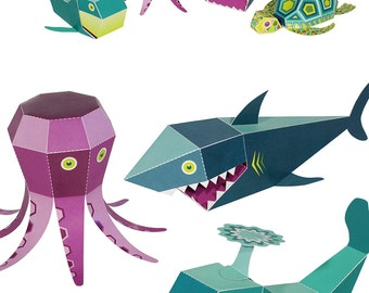 Sea Animals Paper Toys - DIY Paper Craft Kit - 3D Paper Animals - 4 Sea Animals - Kids Sea