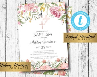 Diy communion etsy pink baptism invitation first communion invite instant download floral invitation pink solutioingenieria Images