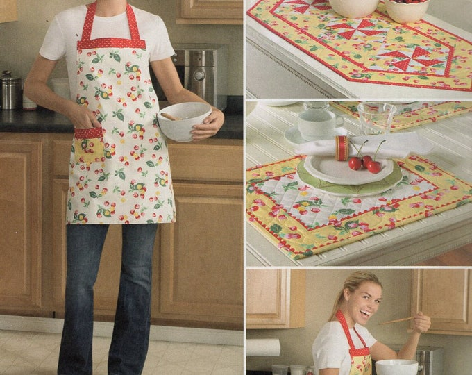 Free Us Ship Sewing Pattern Simplicity 2691 Quilt Table-runner Place-mats Reversible Apron Out of Print Easy to Make Uncut New Out of Print