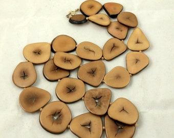 Vintage Sliced Brown Tagua Nut Necklace