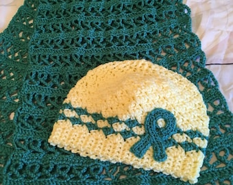 Prayer Shawl and Awareness Hat for Ovarian Cancer