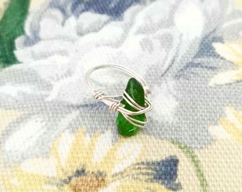 Green River Glass Wire Wrapped Ring