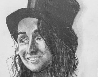 "Original Artwork, Pencil on Paper, 12""x9"", ""Sunitha"""