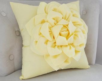 Light Yellow Dahlia Flower Pillow -Decorative Spring Pastel Pillow- Pale Yellow Nursery Pillow