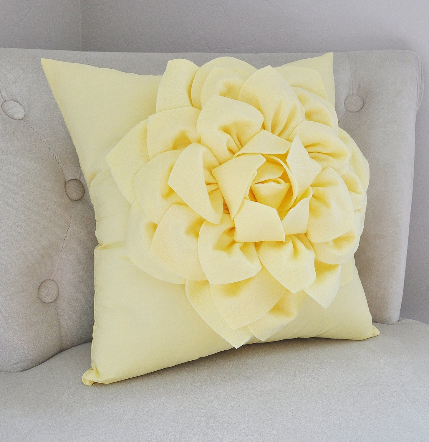 Light Yellow Dahlia Flower Pillow Decorative Spring Pastel