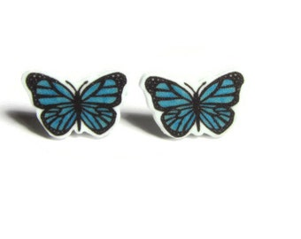Tiny blue butterfly studs, Hand drawn shrink plastic butterfly earrings, metal free hypoallergenic plastic posts, shrinky dink jewelry