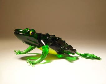 Handmade Blown Glass Art Figurine Green Frog with Yellow Belly