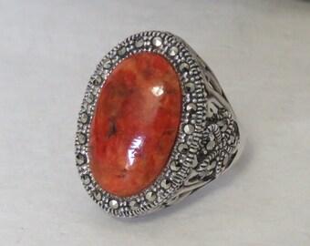 Sterling silver ring, marcasites, orange stone, signed NK Thailand, marked 925, size 7 3/4, vintage, 9.6 grams