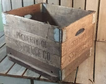 Antique Folding Crate, Ss Piecre Wooden Crate, Antique Shipping Box,  Wooden Box, Wood and Metal Crate, Old Wooden Crate, Farmhouse Antiques