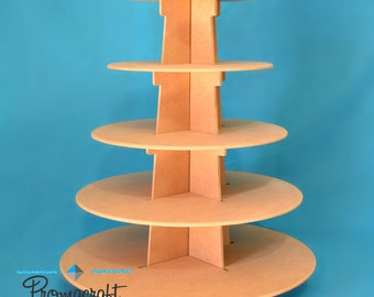 """5 tier cupcake stand, made of mdf wood, 5"""" space"""