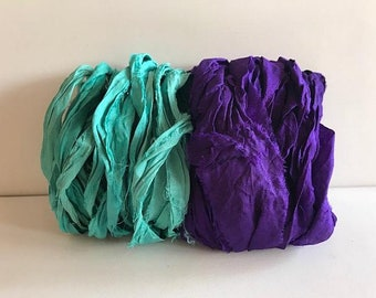 Sari Silk Ribbon-Recycled Aqua & Purple Sari Ribbon-10 Yards