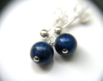 Lapis Lazuli Stud Earrings . Lapis Dangle Earrings . Blue Lapis Jewelry . Lapis Post Earrings . Silver Lapis Lazuli Jewelry