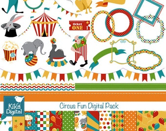 Circus Fun Digital Clipart and Paper Combo- Scrapbooking , card design, invitations, stickers, paper crafts, web design - INSTANT DOWNLOAD