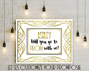 Personalized Prom Proposal, Printable Promposal poster, CUSTOM white gold Prom Invitation, large will you go to prom?  Jpg 5x7 8x10 14x18