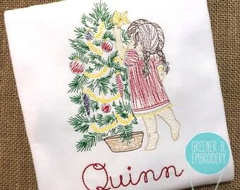 Christmas Shirt / Christmas Applique / Girl Hanging Star Embroidery / Vintage Embroidery Shirt / Christmas Tree Shirt / Girl Christmas Shirt