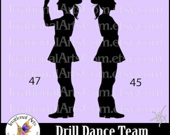 Drill Dance Team Silhouettes poses 45 & 47 - with 2 EPS, SVG Vinyl Ready files and 2 PNG Digital Files and Small Commercial License