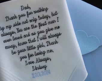Embroidered wEDDING  handkerchief - FATHER of the BRIDE hankerchief - personalized dad parent gift wedding - Wedding Hankie