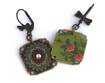 Pavlovksy 1 Earrings - Pavlovsky Jewelry - Pavlovsky Earring - Russian - Russian Print - Russian Earring - Russian Jewelry - Rhinestone