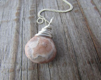 Rhodochrosite Pendant, pink rhodochrosite, wire wrapped necklace