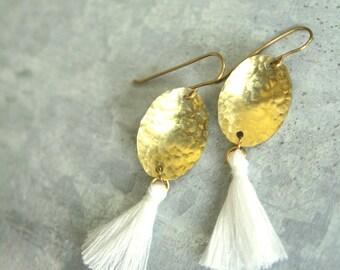 Tassel Earrings with White Tassel, Hammered Brass Tassel Earrings, Tassel Dangle Earrings