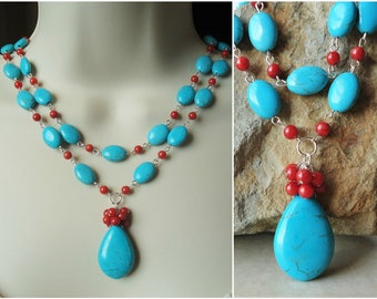 Turquoise Stone Necklace.Red Coral.Double Strand.Gold.Silver.Cluster.Pendant.Statement.Bridal.Chunky.Summer.Blue.Colorful.Gift.Handmade.