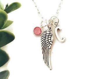 Personalised Angel Wing Necklace Angel Wing Necklace Memorial Necklace Miscarriage Necklace Loss Necklace Memorial Gift for Her