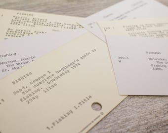 Vintage Fishing Card Catalog Library Dad Gift Tags Fathers Day Fisherman Books
