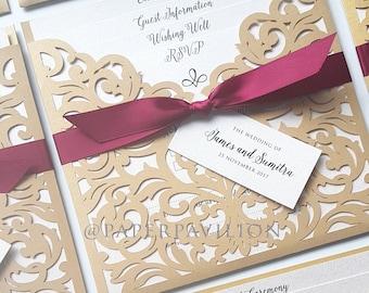BEST SELLER wedding invitation , gold laser cut invite , wedding invitation suite , laser cut pocket design , laser cut invitation