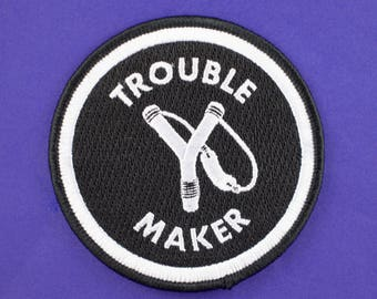 Trouble Maker Iron On Patch // Round patch // Funny Patches//  Iron On // Rebel Patch // Gift for Him // Gift ideas // Embroidered Patch