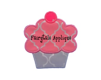 Digital Machine Embroidery Design -  Cupcake with a Cherry on Top Applique
