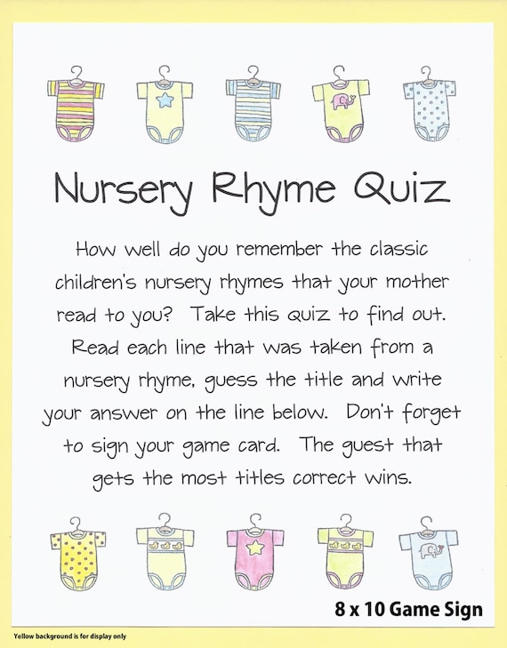 Nursery Rhyme Quiz Baby Shower Game Name The Nursery Rhyme
