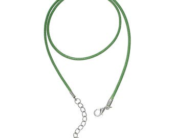 FIL105 - 1 necklace-waxed cotton cord ready to mount light green