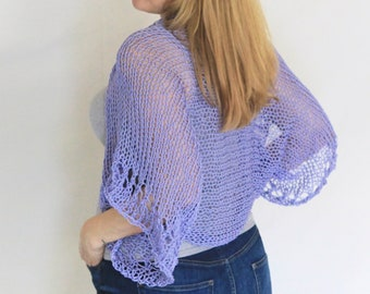 Lavender shrug, summer shrug, summer knit, loose knit shrug, lavender bolero, lavender cotton shrug, cotton bolero, lavender crop cardigan