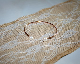 Rose Gold Vermeil Sterling Silver Pearl Dainty Flexi Stacking Bangle Bridal