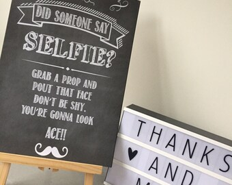 Wedding Selfie photo booth print. Did someone say selfie wedding sign ? A3 A4 Size