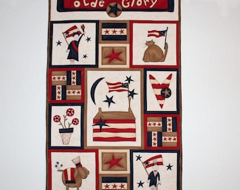 Olde Glory Patriotic Quilted Wall Hanging, Red White Blue Quilt, Rustic, Primitive, Independence Day 4th of July, Quiltsy Handmade Patchwork