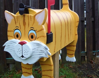Cat mailboxes - Yellow Cat mailbox