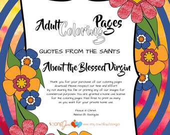 Quotes from the Saints about The Blessed Virgin Adult Coloring Pages