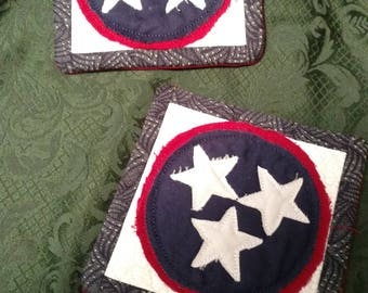 Tennessee Tri Star Mug Rugs, Set of 2