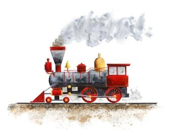 Train Art Print - Transportation Nursery Decor - Boy Wall Art - Train Nursery - Train Nursery Print - Train Wall Decor - Steam Train Art