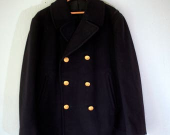 Large Authentic Black Wool Peacoat 42 S Black Wool with Gold Button and lining / Lined Wool with two front pockets Med 42S Marching Band