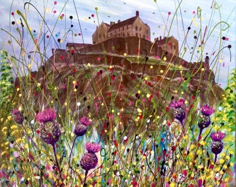 Thistles And Castle. Scottish thistle. Art print from an original painting.