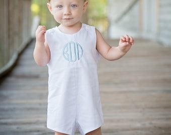 Baby Boy Monogrammed White Pique Jon Jon, Baby, Infant, Toddler Boys