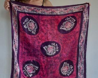 70's silk batik tie dye Indian scarf