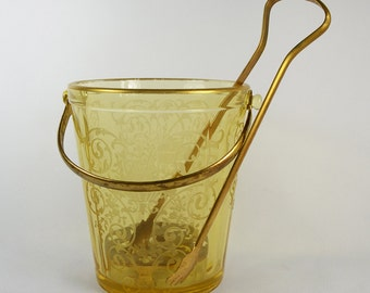 Antique Glass Ice Bucket with Tongs and Ice Plate Depression Glass Fostoria Firenze Topaz Amber Etched Scroll Work