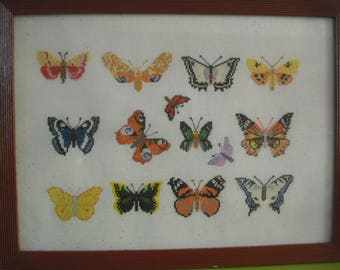 framed counted stitch pattern Butterfly embroidery